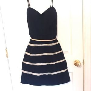 Navy blue w/cream stripes. Simple cute dress
